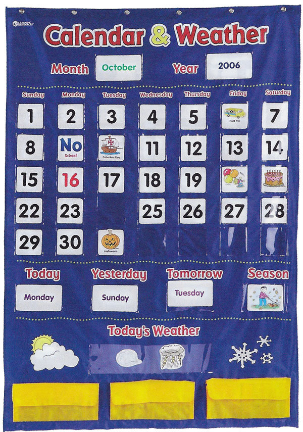 weather chart combined with calendar chart: Calendar and weather chart with pockets australian teaching aids