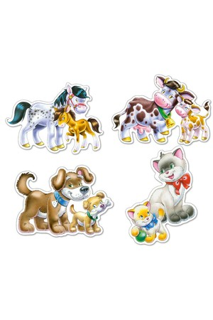 Animals with Babies Puzzles - Set of 4