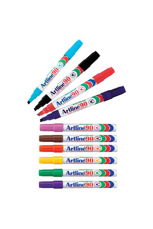 Artline 90 Permanent Markers Assorted Colours - Box of 12
