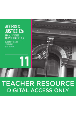 Access and Justice Legal Studies for VCE - Units 1 & 2: Teacher obook assess (Digital Access Only)
