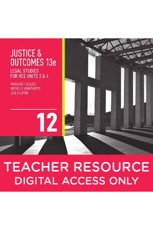 Justice and Outcomes Legal Studies for VCE - Units 3 & 4: Teacher obook/assess (Digital Access Only)