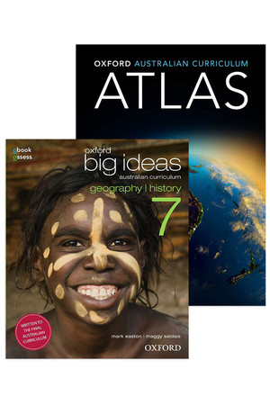 Oxford Big Ideas Geography/History AC - Year 7 Pack: Student Book + obook/assess & Oxford AC Atlas Student Book + obook/assess (Print & Digital)