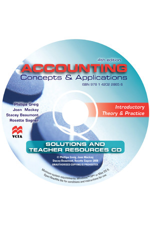 Accounting Concepts & Applications: Teacher Solutions and Resources + 2CD Pack (Fourth Edition)