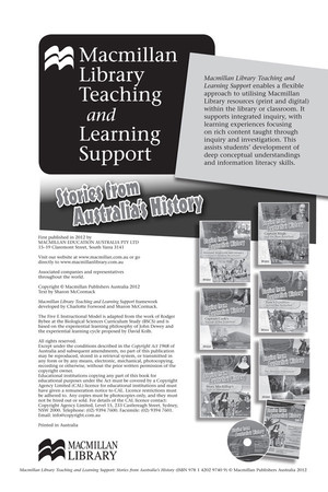 Stories from Australia's History Set 3 - Teaching and Learning Support Pack