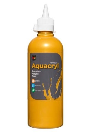 Aquacryl Metallics Premium Acrylic Paint 500mL - Gold