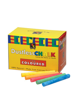 Dustless Coloured Chalk - 100 Pieces