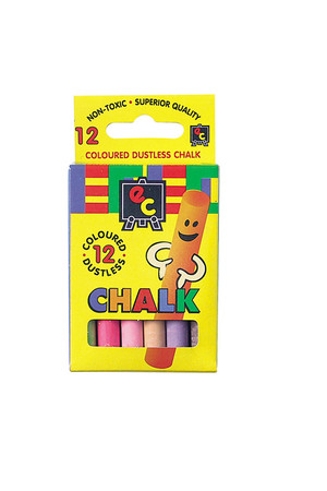 Dustless Coloured Chalk - 12 Pieces