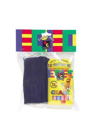 Pack of 12 Coloured Chalks & Wooden Blackboard Duster