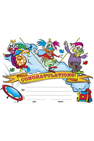 Clowns Merit Certificate - Pack of 35