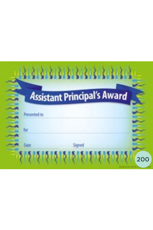 Assistant Principal's Award Certificate - Pack of 200