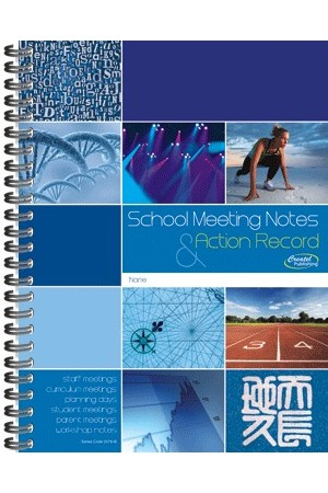 School Meeting Notes & Action Record Book - Blue (Clearance)
