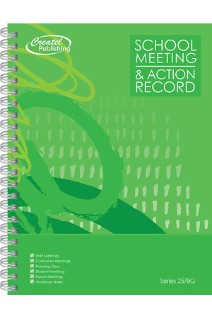 School Meeting Notes & Action Record Book - Green