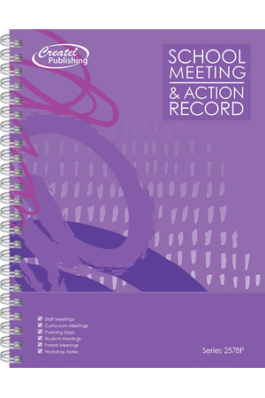 School Meeting Notes and Action Record (Purple)