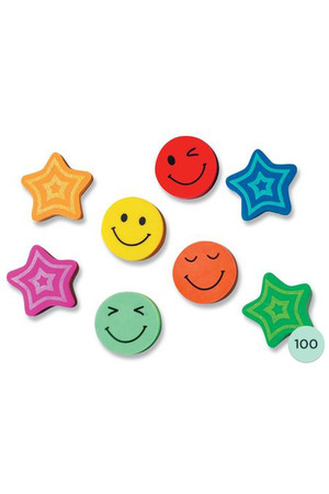 Stars and Smiles Erasers - Pack of 100