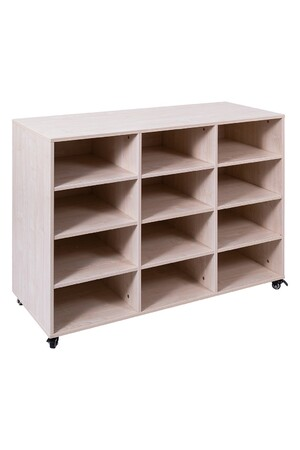 Mobile Storage Trolley with Plastic Tote Trays - White Oak: 12 Bay