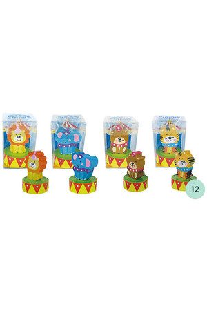 Circus Erasers with Sharpeners - Pack of 12