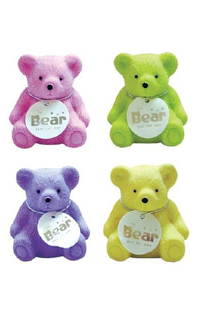 Fruity Aroma Bear Erasers with Sharpeners - Pack of 4