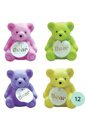 Fruity Aroma Bear Erasers with Sharpeners - Pack of 12
