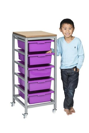Tote Tray Trolley - Single (inc. 5 Trays)