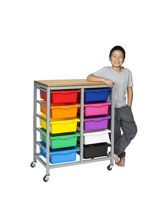Tote Tray Trolley - Double (inc. 10 Trays)