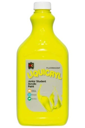 Liquicryl Fluorescent Junior Acrylic Paint 2L - Yellow