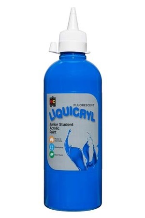 Liquicryl Fluorescent Junior Acrylic Paint 500mL - Blue
