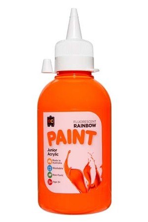 Fluorescent Rainbow Paint Junior Acrylic Paint 250mL - Orange