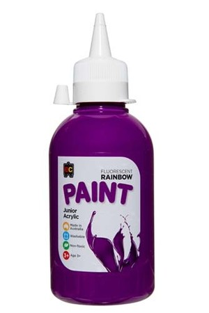 Fluorescent Rainbow Paint Junior Acrylic Paint 250mL - Purple