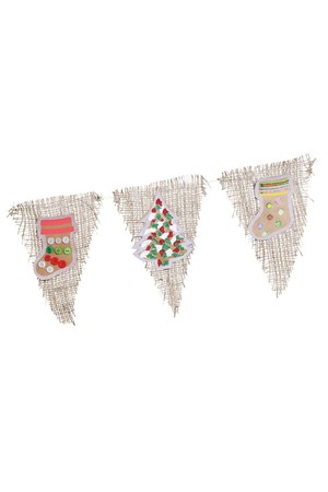 Christmas Hessian Bunting Kit - Pack of 24