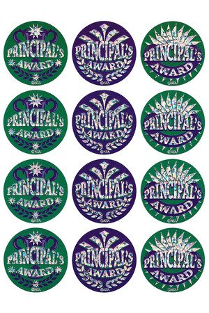 Principal's Award Large Foil Glitz Stickers - Pack of 72