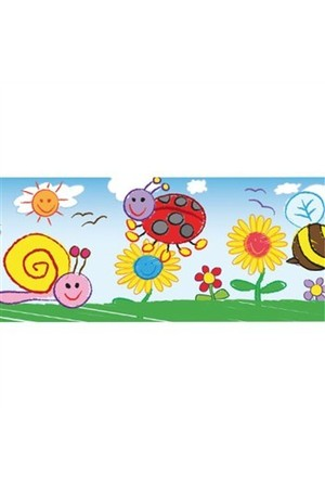 Bugs And Flowers Kid Drawn Restickable Border