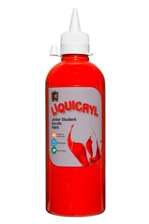 Liquicryl Junior Acrylic Paint 500mL - Brilliant Red