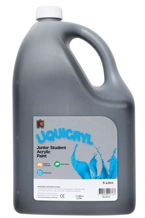 Liquicryl Junior Acrylic Paint 5L - Black