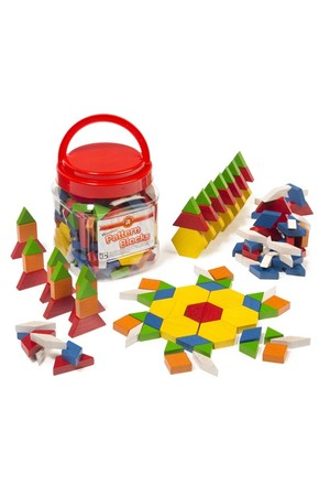 Wooden Pattern Blocks - Jar of 126