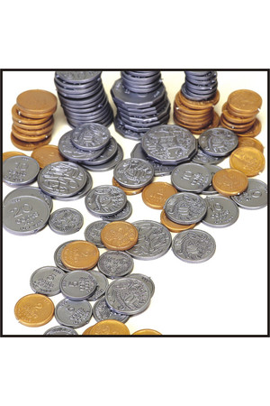 Plastic Play Coins - Pack of 106