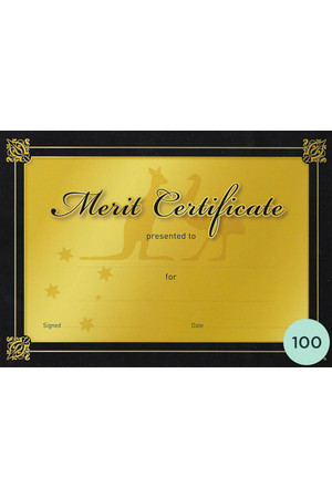 Gold Merit Certificate - Pack of 100 Cards