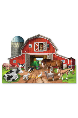Floor Puzzle - 32 Pieces: Busy Barn Yard Shaped