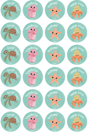 Reef Creatures Merit Stickers