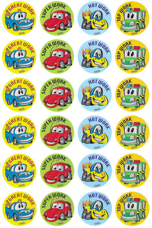Crazy Cars Merit Stickers