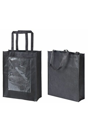 Black Eco Bags with Display Pocket - Small (Pack of 10)