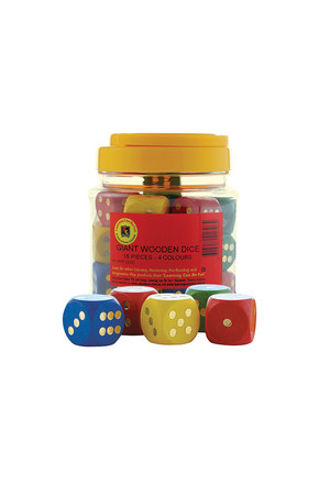Giant Wooden Dice - Jar of 16