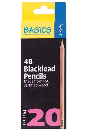 Basics - Blacklead Pencils (Pack of 20): 4B