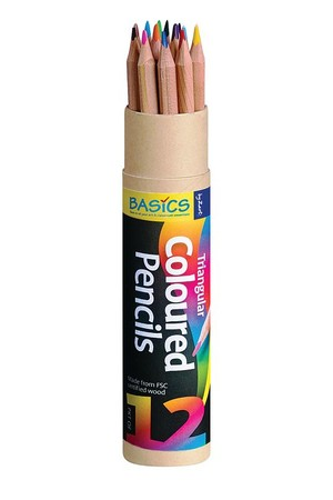 Basics - Triangular Colour Pencils (Pack of 12)