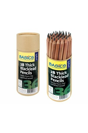Basics - Thick Blacklead Pencils: 2B (Pack of 36)