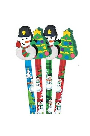 Snowman Pencil Toppers - Tub of 36