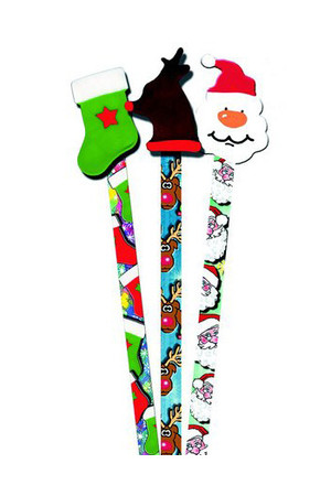 Christmas Pencil Toppers - Pack of 6