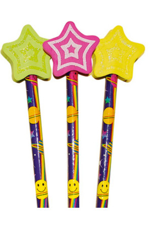 Shooting Stars Pencil Toppers - Pack of 6