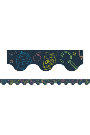 School Tools Scalloped Border