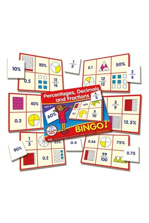 Percentages, Decimals & Fractions Bingo