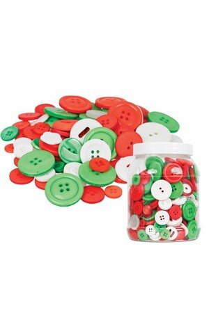 Basics - Buttons: Christmas Colours (Tub of 600g)
